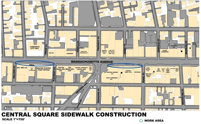 Map of Mass Ave Sidewalk Work