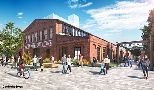 Architects' rendering of planned adaptive reuse of Cambridge's Foundry building.