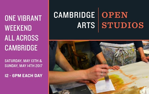 Open Studios Digital Postcard with 2017 Event dates and times, One Vibrant Weekend Across Cambridge Saturday May 13 Sunday May 14 12 - 6PM each day