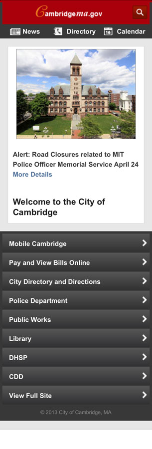 screen shot of mobile web site