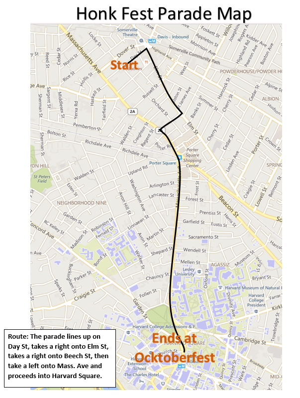 2015 HONK Parade Route Map