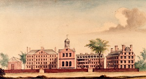 View of Harvard College c 1764 by Du Simitiere