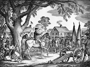 George Washington taking command under Elm drawing