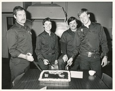 new recruits cutting cake