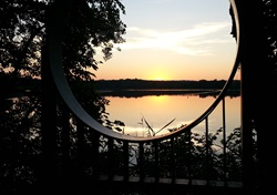 Sunset viewed over Fresh Pond during the summer.