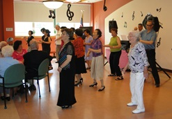 Seniors dancing at event
