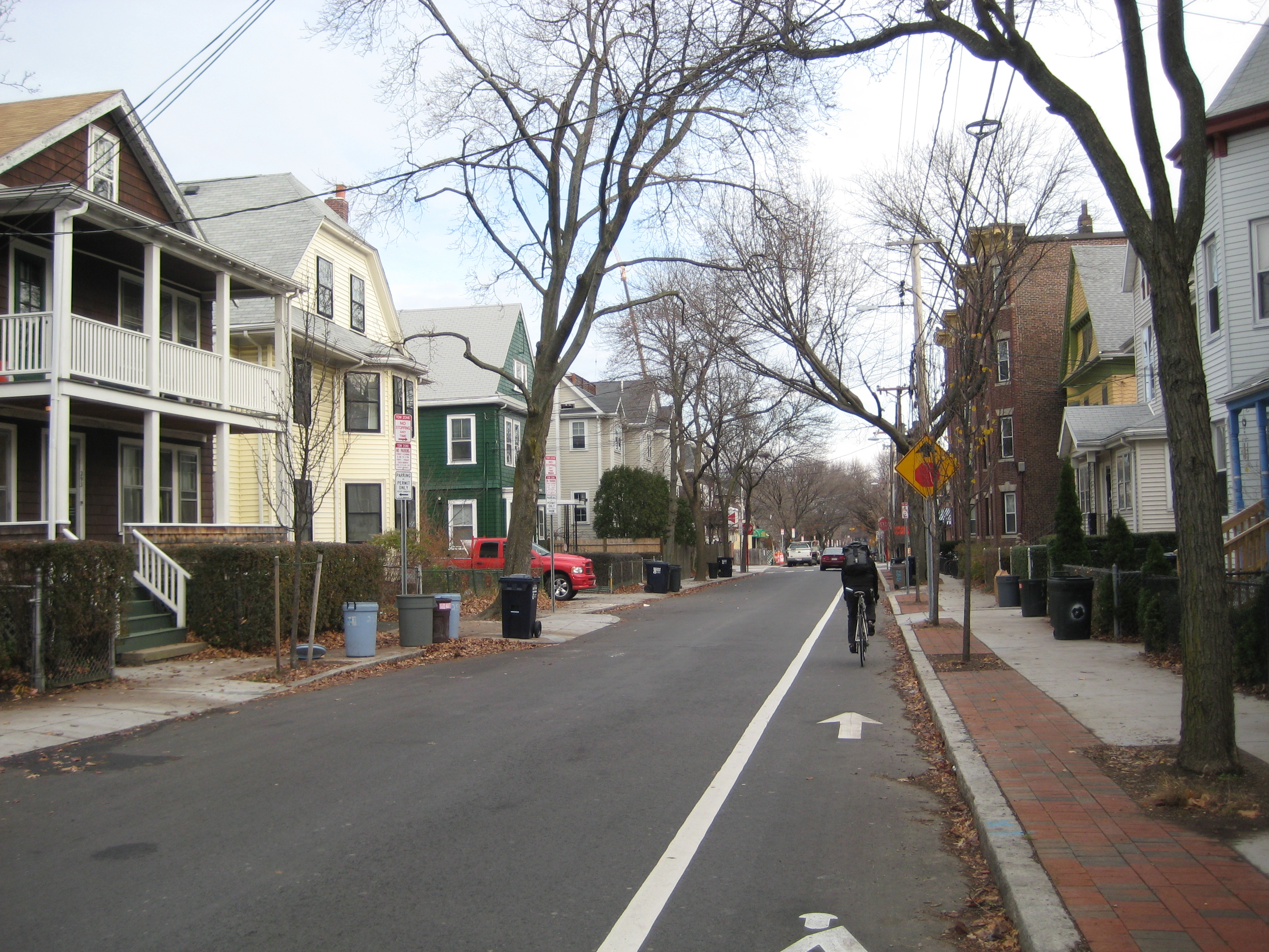 Brookline Street after wider sidewalks and bicycle lane added