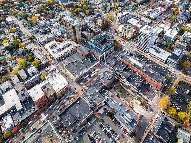 Aerial photo of Central Square by Kyle Kein