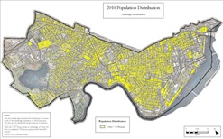 2010 Census population map of Cambridge