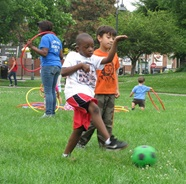 kids playing at field day