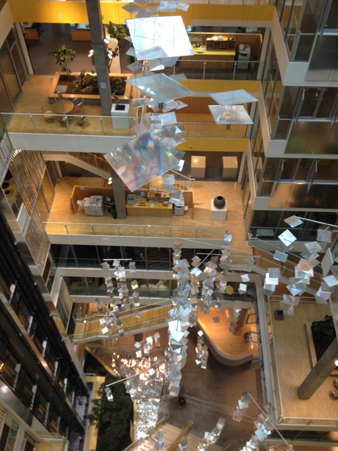 Interior of Genzyme building with reflective panels