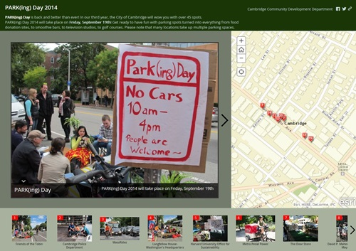 PARKing Day, Cambridge, MA, event, park, september, map, Storymap, GIS