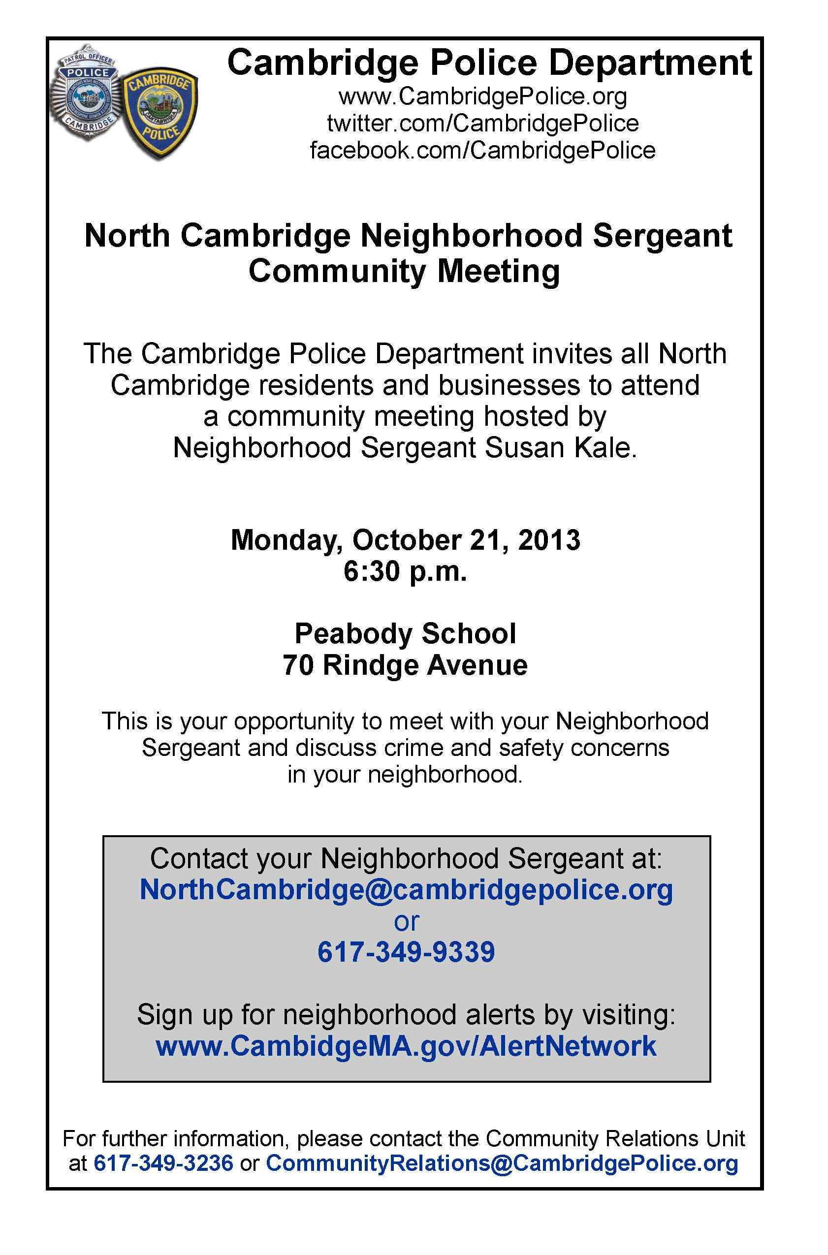 North Cambridge Meeting Flyer