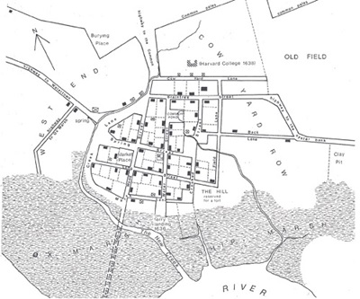 Reconstructed map of the village of Old Cambridge ca 1635