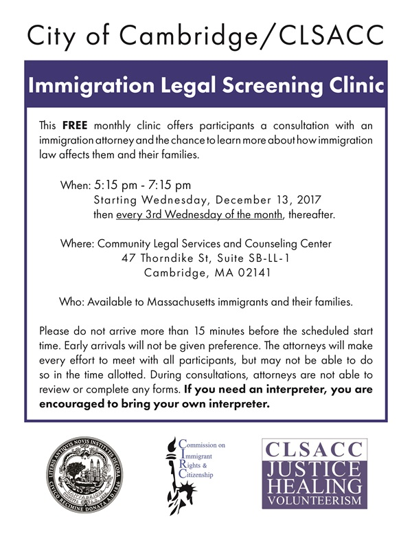 flyer for City of Cambridge/CLSACC Immigration Legal Screening Clinic