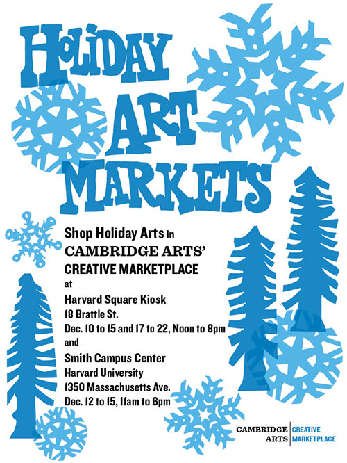 """Holiday Art Markets"" poster with cut-out illustrations of trees and snowflakes."