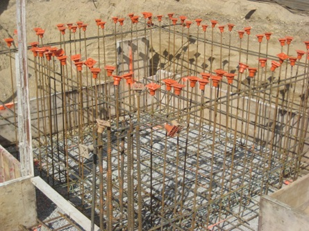 Concrete and rebar at affordable housing construction site