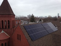 Solar panels on church roof