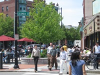 Lafayette Square during the day with pedestrians
