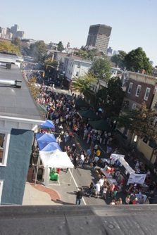 Aerial view of Cambridge Street during the Annual East Cambridge Rib Festival