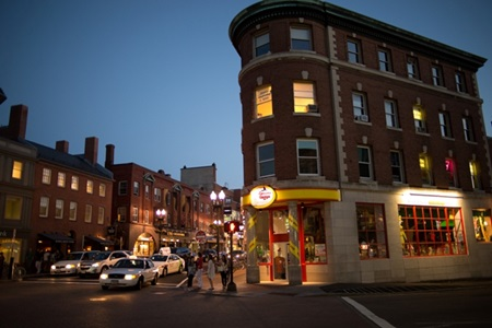 Nightime in Harvard Square, intersection of JFK and Brattle Streets