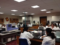 This is an image of BioMed students in the lab