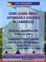 Flyer for December 8 housing walk in information session