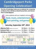 Cambridgeport parks celebration flyer