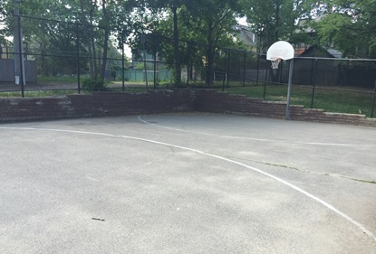 Basketball Court with retaining wall Sacramento Field