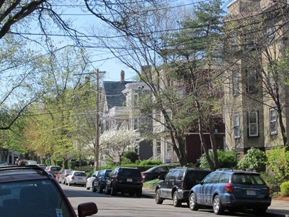 Typical resiential street in Mid-Cambridge