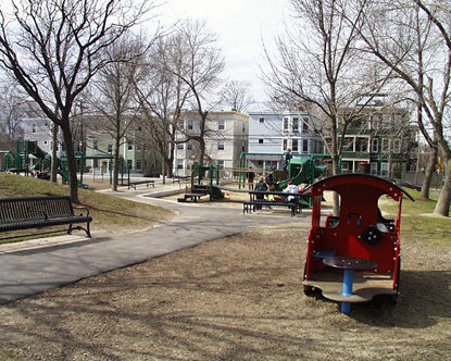 Corcoran park playground on a winter day