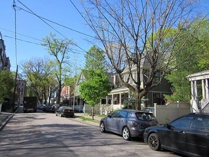 Residential streetscape in neighborhood