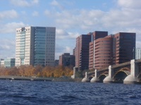 Charles river shore where Longfellow Bridge enters city