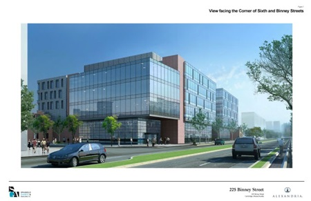 Rendering of Alexandria Real Estate building for Biogen at 225 Binney Street