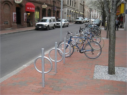 Bicycle parking: post-and-rings on Dunster Street in Harvard Square
