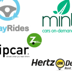 Collage of carsharing companies' logos