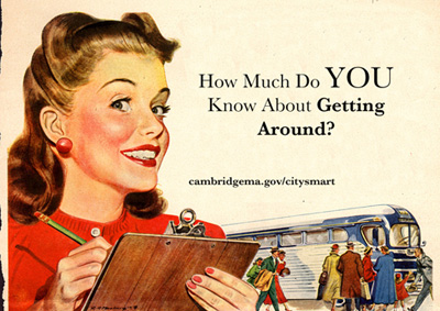 CitySmart faux 1950s advertisement of a girl with a clipboard