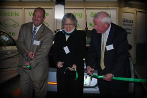 Electric car ribbon cutting