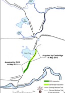 Map of Watertwon Cambridge Greenway project area