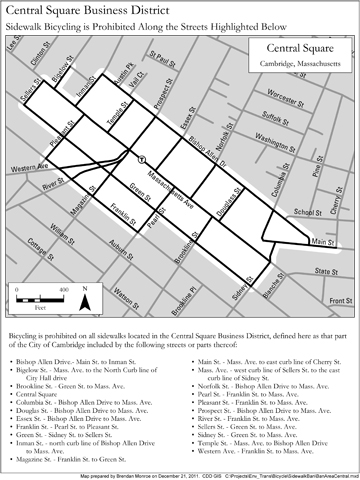 Map of Central Square Bike Ban Area