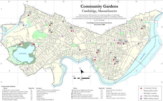 Map of community garden locations