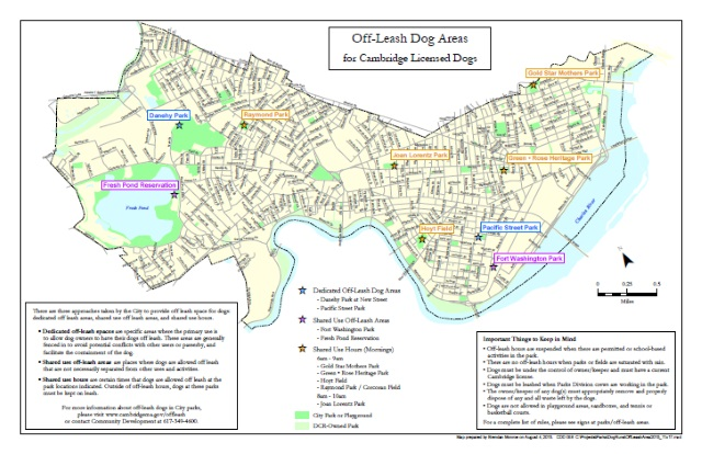 Map of off leash dog areas in Cambridge