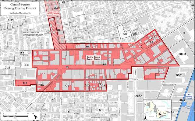 Map of Central Square zoning overlay districts