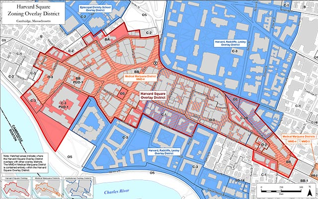 Map of Harvard Square zoning overlay districts