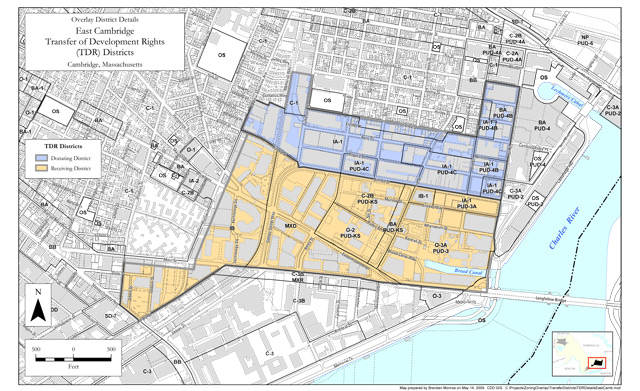 East Cambridge Transfer of Development Rights Map