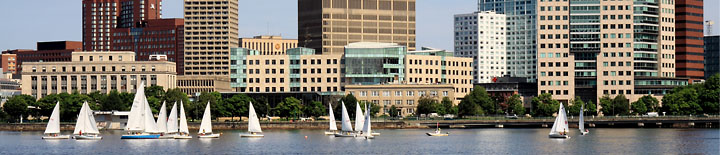 Sailboats on the Charles, Cambridge behind  - Photo by Bob Coe