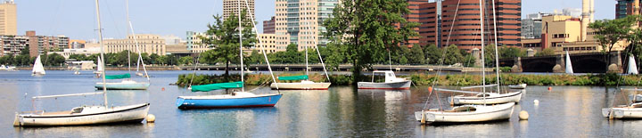 Sailboats anchored in the Charles River  - Photo by Bob Coe