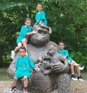 Kids at the Zoo during summer camp trip