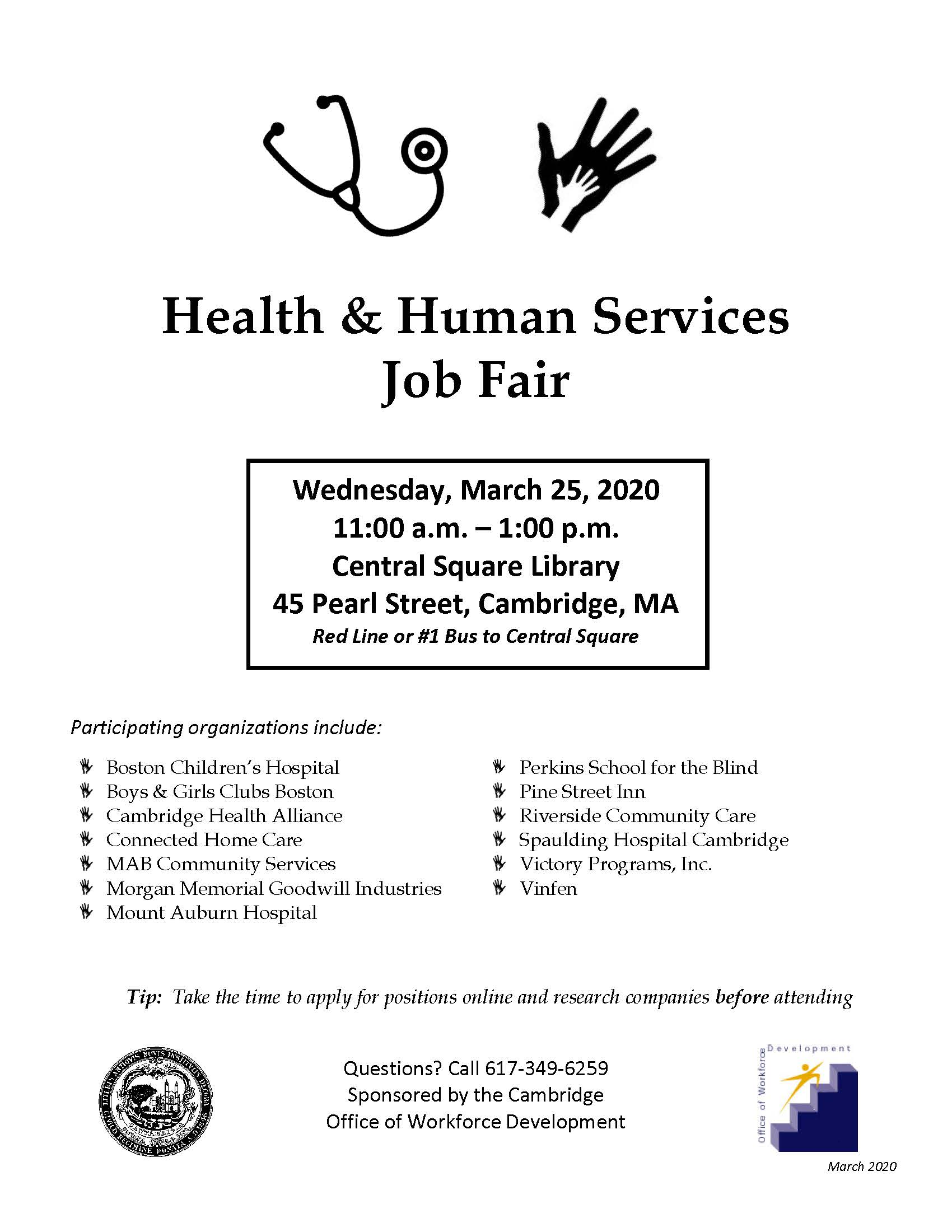 Health and Human Services Job Fair - City of Cambridge, MA