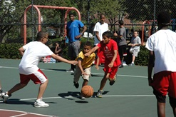 Area 4 youth playing basketball